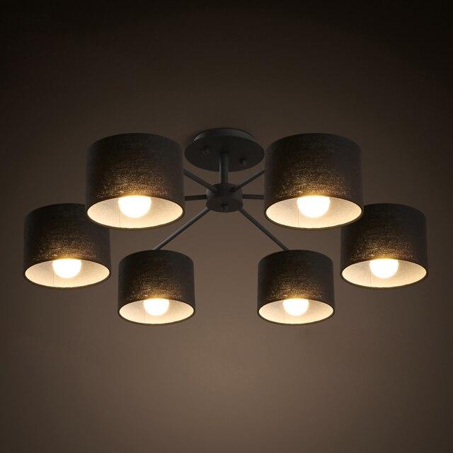 Vintage 6 heads stof schaduw inbouw plafondlamp slaapkamer