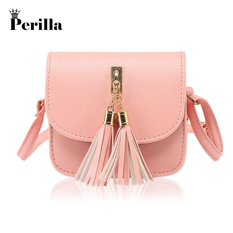 Perilla 2018 Women Small Chains Bag Tassel Messenger Bags Female Handbag Shoulder Bag Candy Color Flap Women Bag Bolsa Feminina