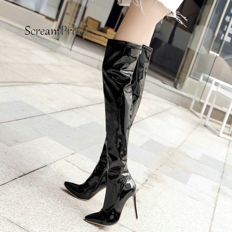Winter Sexy Thin High Heel With Side Zipper Thigh Boots Fashion Pointed Toe Warm Women Shoes Black White Red women side zipper sexy thin high heel over the knee boots fashion pointed toe warm winter nightclub shoes red black white 2018