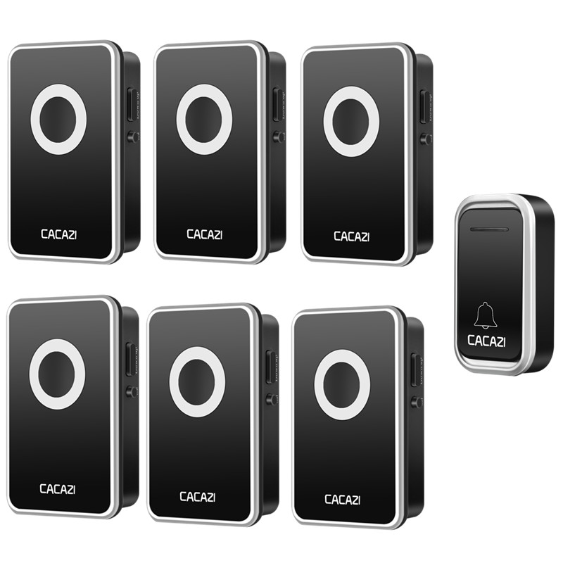CACAZI Smart Home Wireless DoorBell Waterproof 300M Remote Battery Button Operated AC US EU Plug 38 Rings 3 Volume Calling Bell майка классическая printio лев толстой