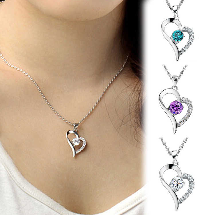 Drop Shipping New Arrival Heart Shaped Rhinestone Pendant & Chain Necklace Fine Jewelry Blue Purple White