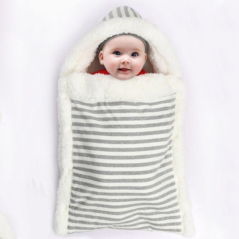 Envelope For Newborns Baby Sleeping Bag Winter Footmuff Stroller Striped Blanket Envelope Swaddle Sack Sleep Bag Baby Cocoon
