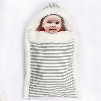 Envelope Para Recém-nascidos Do Bebê Saco de Dormir Carrinho de Saco Térmico de Inverno Listrado Envelope Cobertor Swaddle Sack Saco de Dormir Do Bebê Casulo