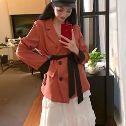 Мода двубортный кружева до Для женщин блейзер зубчатый хит Цвет рукавами осенняя куртка уличная женский костюм верхняя одежда 2018