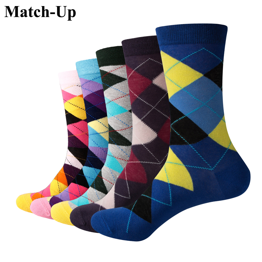 Match-Up Men Colored diamonds Cotton  Socks argyle Casual Crew Socks 5-Pack Shoe Size 6-12