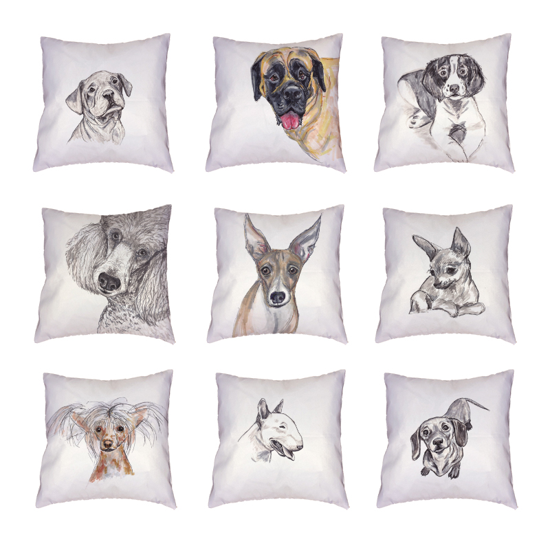 Lovely Bull Terrier White Cushion Cover Polyester Peach Skin Printed Home Decor Happy Camper 45x45cm Cute Dogs Throw Pillow Case