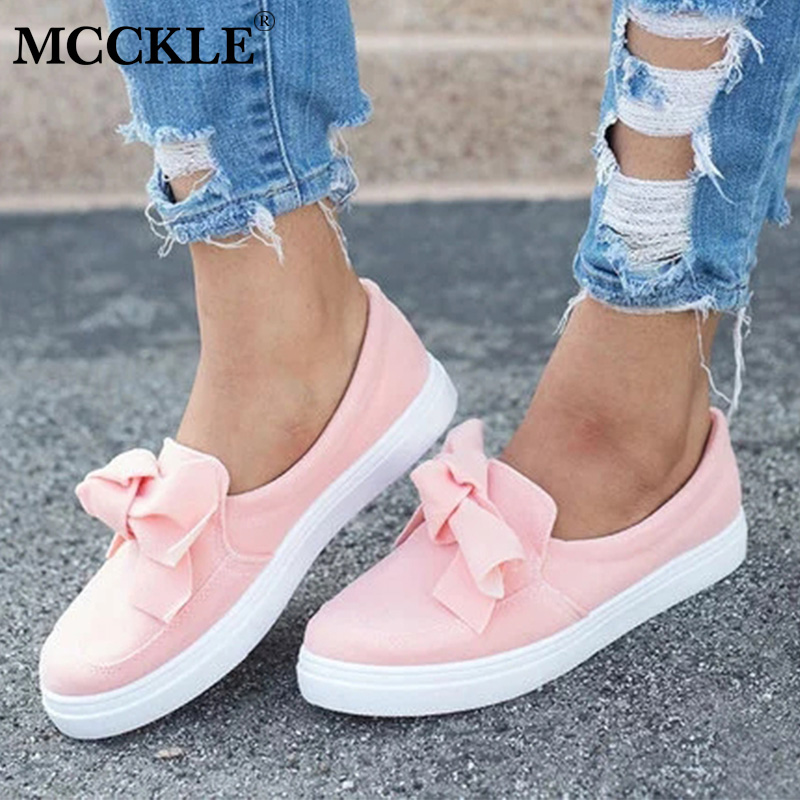 MCCKLE Women Loafers Plus Size Platform Slip On Bowtie Flat Shoes Sewing Casual Bowknot Shoe For Female Flock Moccasins Footwear alluring plus size bowknot embellished cold shoulder dress for women