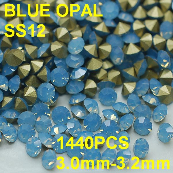 SS12 3.0mm-3.2mm 1440pcs/bag Wholesale Blue Color Opal Rhinestones Golden Pointback for Beauty Women DIY Jewelry Rhinestone