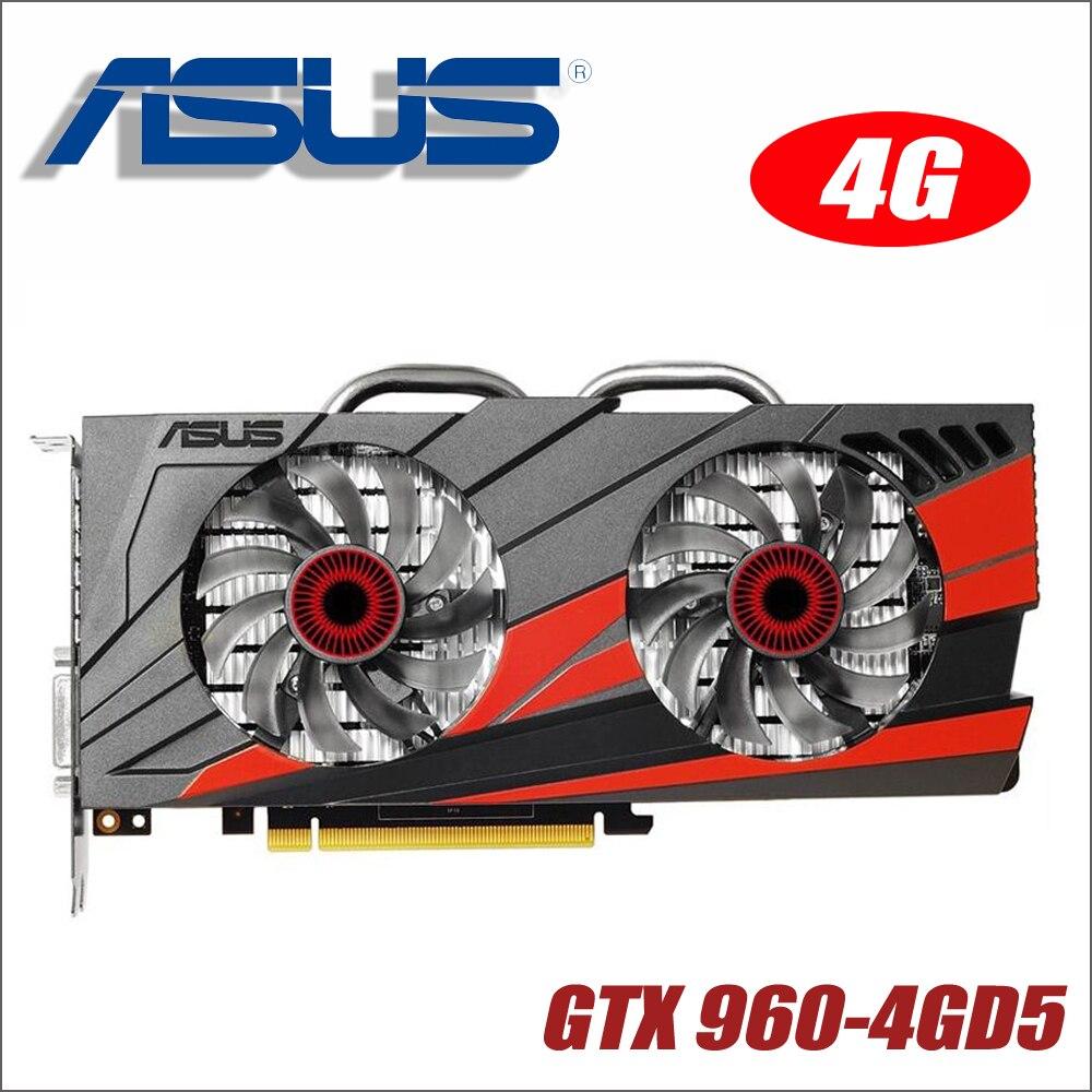 Оригинальный ASUS GTX960-DC2OC-4G D5 Видеокарта GTX 960 4G B 128Bit GDDR5 Графика карты для nVIDIA Geforce Hdmi Dvi gam GTX960 4G