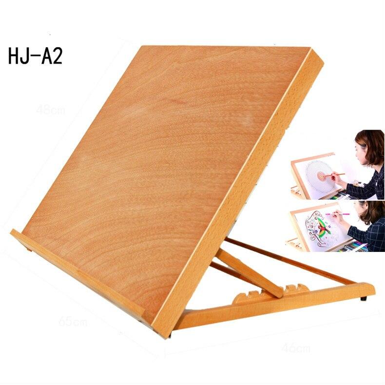 Chevalet en bois hêtre 8 K intégré bureau chevalet boîte pliante étagère peinture croquis peinture tableau en bois croquis chevalet HJ-A2 #