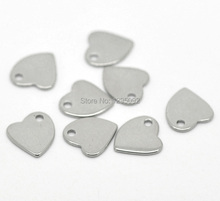 40Pcs Silver Tone Stainless Steel Heart Blank Stamping Tags Pendants Charms Jewelry Making Findings Component 11x10mm