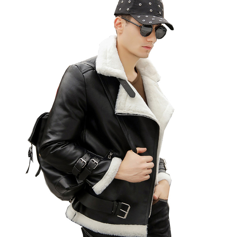 Winter Faux Leather Jacket Coat Men Leather Fur Coats Aviator Mens Motorcycle Jacket Warm Suede Shearling Overcoat Mens Clothing-in Faux Leather Coats from Men's Clothing    1