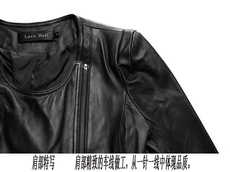 Женская мода O-образным Вырезом натуральной кожи куртка черный овчины slim fit кожаное пальто женщин корейский стиль леди кожаная куртка