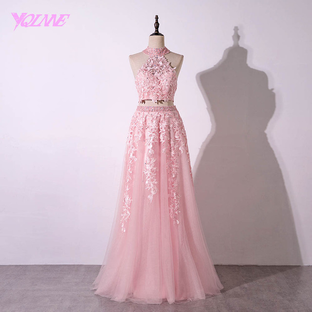 YQLNNE 2018 Pink Long Prom Dresses Two Pieces Halter Lace Beaded Tulle Party Dress