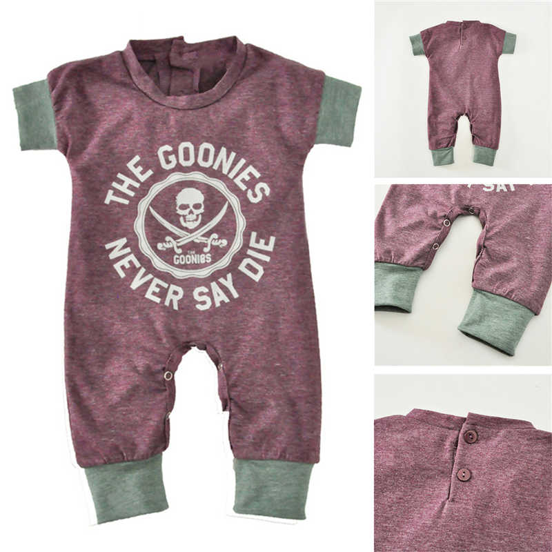 dc5db82c5566 2018 Newborn Baby Jumpsuits Summer Cartoon Skull Boys Girls Romper For  Infant One-piece New