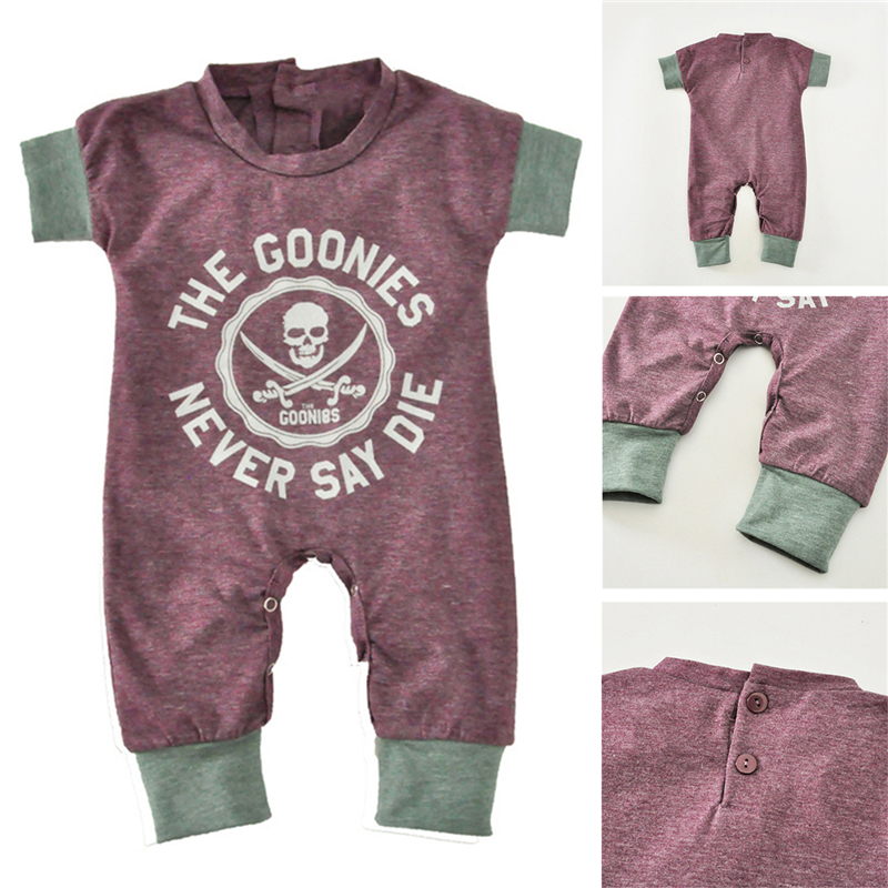 2018 Newborn Baby Jumpsuits Summer Cartoon Skull Boys Girls Romper For Infant One-piece New Short Sleeve Letter Kids Baby Romper