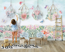 beibehang Custom wall papers home decor fashion wallpaper Nordic hand-painted American garden cactus childrens room background