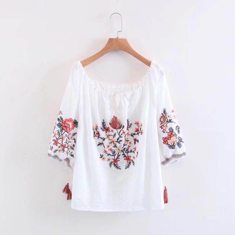 White Embroidery   Shirts   Women Tunic Slash Neck 3/4 Sleeve Lace Up Cotton Ethnic   Blouse     Shirt   Summer Tops Female Clothing Blusas