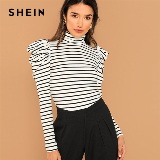 de47057a1bbc4a SHEIN Black and White Weekend Casual Leg-of-mutton Sleeve Striped Pullovers Long  Sleeve