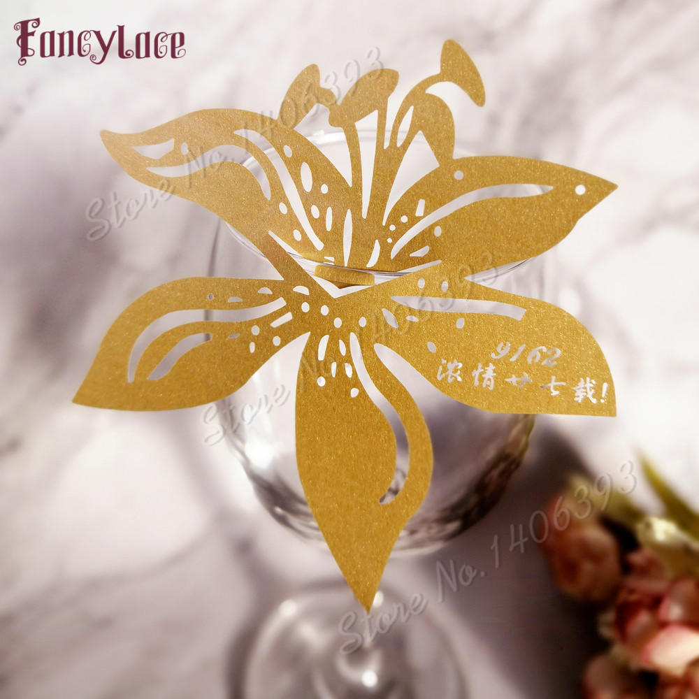 50pcs lot Lily Flower Laser Cut Table Mark Wine Glass Name Place Cards Paper Wedding Birthday Baby Shower Christmas Supplies in Party DIY Decorations from Home Garden