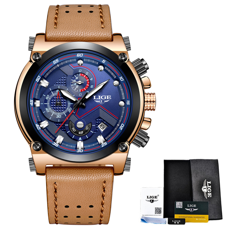 LIGE Mens Watches Business Fashion Big Dial Top Brand Watch Men Sports Waterproof Automatic Date Leather Clock Relogio Masculino reloj hombre top brand luxury simple fashion casual business watches men date waterproof automatic mens watch relogio masculino