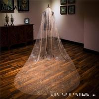 Champagne Wedding Bridal Veil Spray Gold Shiny Sparkling One Layer 3m Long Church Veils New Fashion Bridal Schleier C