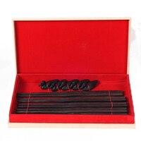 5 pairs Cinese classico tipo bastoncini di Legno di Ebano Bacchette Giapponese Coreano Cena Cibo Da Tavola Bastoni Portatile Senza Cera Lacca