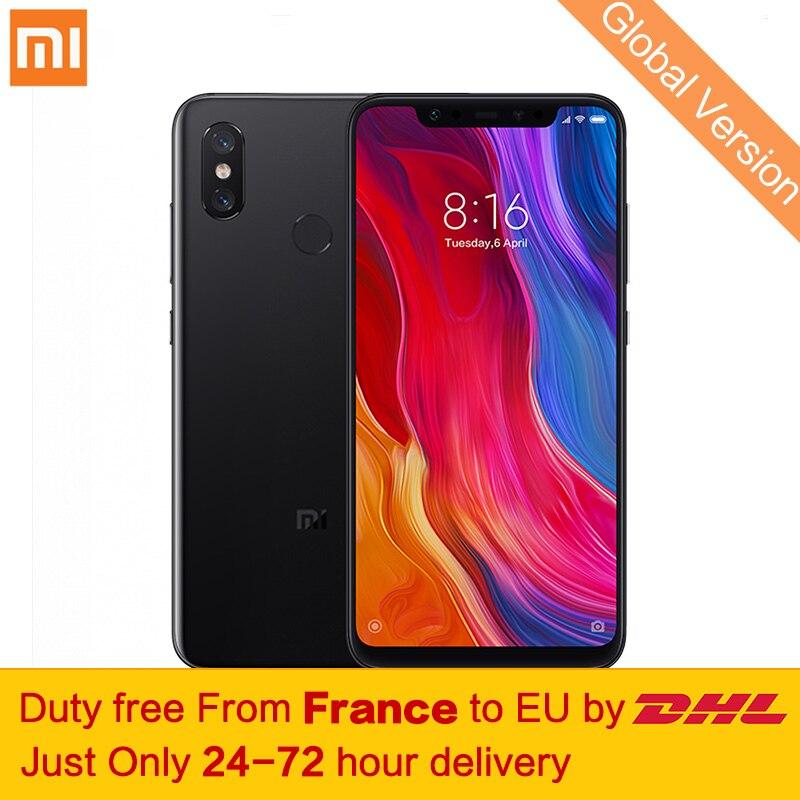 Taxe gratuite! version globale Xiaomi Mi 8 Smartphone 6 gb 64 gb Snapdragon 845 Octa Core Double bande GPS 6.21 2248x1080 FHD Double Caméra