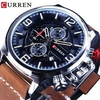 CURREN Outdoor Sport Date Chronograph Brown Belt Waterproof Military Quartz Wristwatch Top Brand Luxury 3 Dial