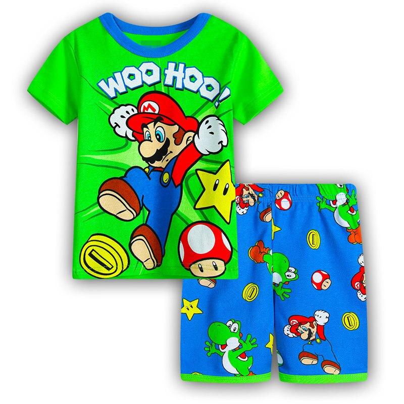 2018 nova casual dos desenhos animados de algodão super mario bros crianças define meninos t-shirts calças curtas crianças roupas verão pijamas conjuntos