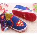 Varejo 1 pcs bebê calçados para meninas menino azul S superman bebê algodão sapatos de criança tamanho 1 2 3 para o bebê crianças criança primeira walker