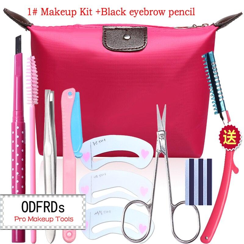 Øjenbryn Makeup Kit Øjenbryn blyant + Pincetter + børster + Trimmer + Øjenbryn skimmel + Kosmetiske saks + blad + Taske M2034