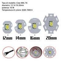 1 piezas CREE XML XM-L T6 LED 10 W alta potencia LED blanco emisor con 12mm 14mm 16mm mm, 20mm, mm PCB DIY