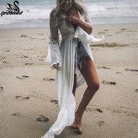 2019 туники для пляжного купальника, женские купальники, платье в пол, пляжная одежда, парео, Пляжное Платье Saida de Praia