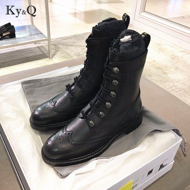 Новая мода Европейский стиль, Цвет Черный Ботильоны Туфли без каблуков круглый носок черного цвета на молнии ботинки martin из натуральной кож...