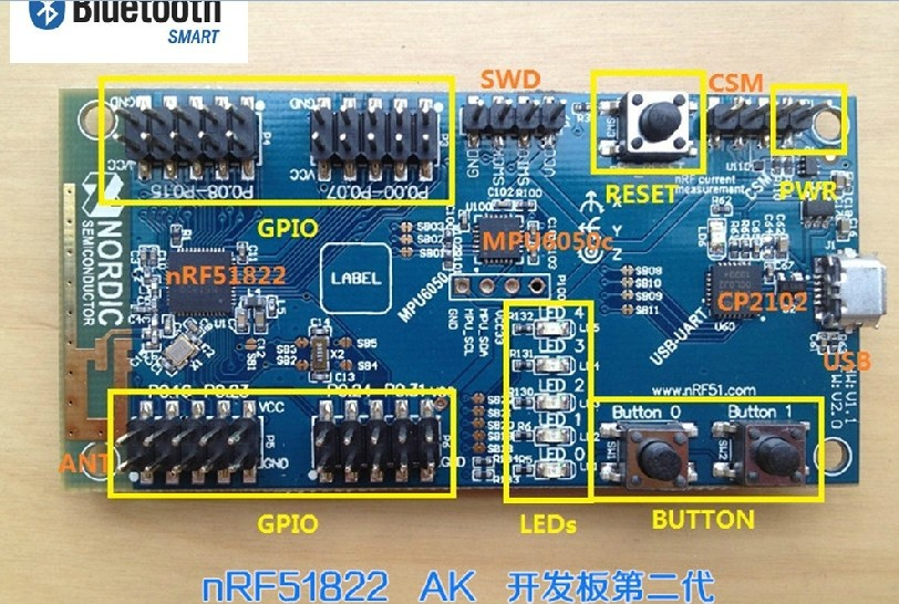 Freeshipping NRF51822AK II (BLE) bluetooth 4.0 development board MPU6050 CP2102 hot da14580 ak bluetooth ble development board ibeacon millet bracelet lis3dh power industry