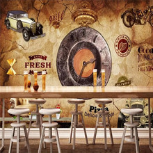 Custom 3d wallpaper European retro industrial wind stereo clock bar coffee shop background wall
