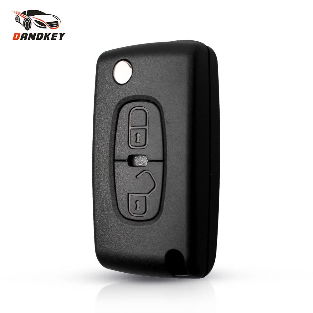 Dandkey For Citroen C-Crosser C4 Aircross <font><b>Key</b></font> Shell 2 Button Flip Folding Remote Car <font><b>Key</b></font> Cover Case For <font><b>Peugeot</b></font> <font><b>4008</b></font> Uncut Blade image