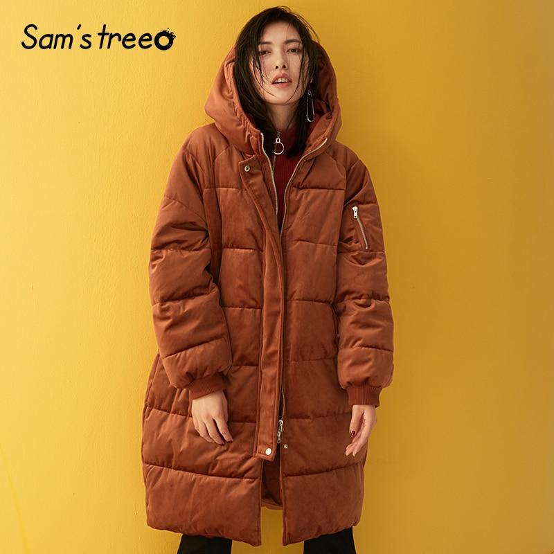 Samstree hiver femmes manteaux rembourrés velours à capuche femme Long épais manteaux dame vêtements parkas d'extérieur 2 couleurs