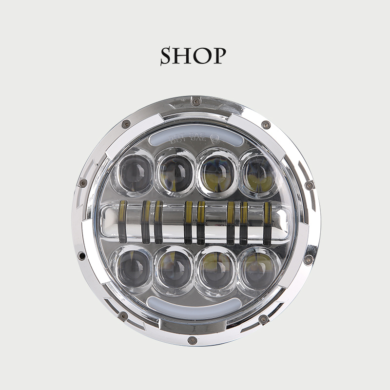 1PCS DOT SAE E9 80W 7 Inch JEEPS LED Headlight with White/ amber Halo Ring DRL for Jeep Wrangler Jk Tj Hummer H1 H2