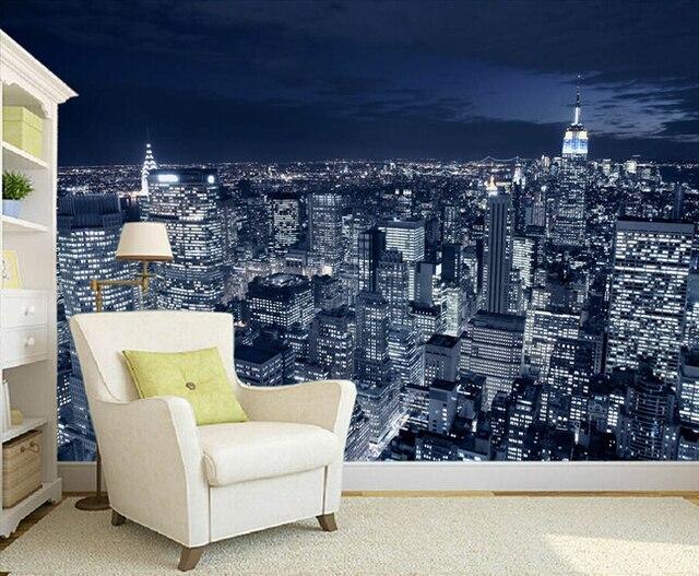 Slaapkamer New York : Aangepaste foto wallpaper zwart wit new york city night scene
