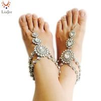 1 Pair Fashion Bridal Barefoot Sandal Crystal Anklet Wedding Beach Foot Ankle Bracelet Women Jewelry Female
