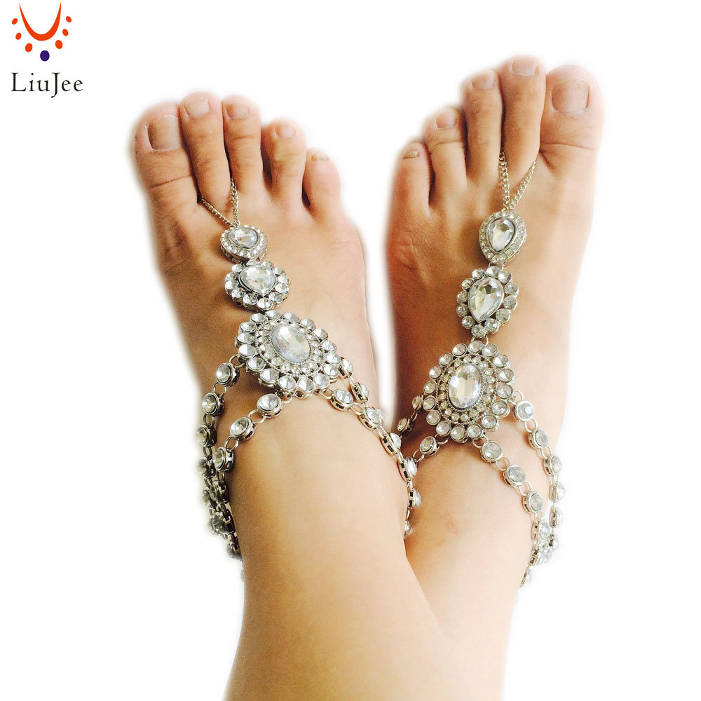 1 Pair Fashion Bridal Barefoot Sandal Crystal Anklet Wedding Beach Foot Ankle Bracelet Women Jewelry Female Anklets