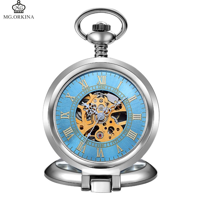 Good Quality ORKINA Pocket Watch Men Women Roman Numeral Mechanical Fob Pocket W