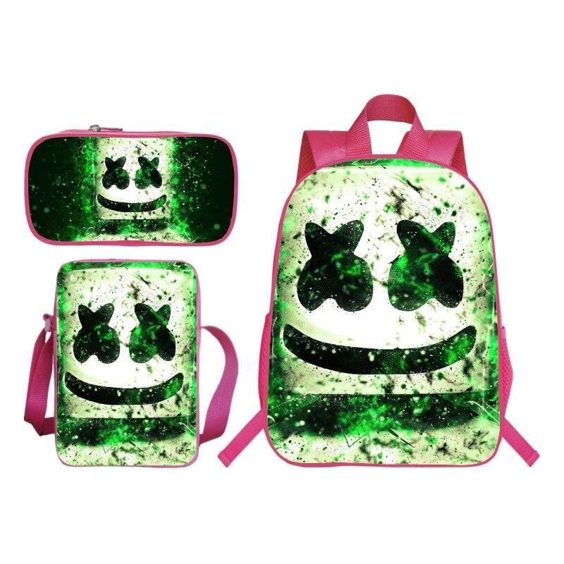 Mode 3 pièces/ensemble impression 3D Pop Star Marshmello enfants bébé sacs d'école pour enfants épaule sacs à dos filles Bookbag étudiants