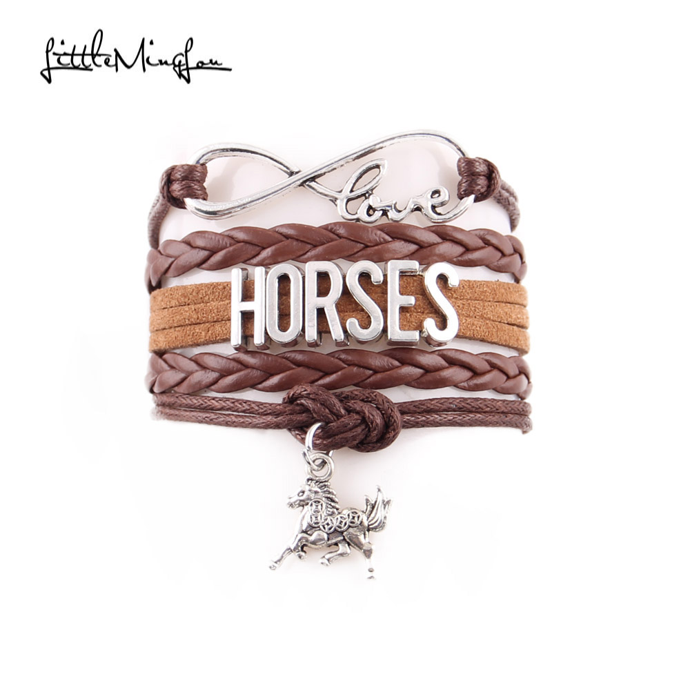 Little MingLou Infinity love HORSES ձեռնաշղթա հաջողակ ձի հմայքը կաշվե փաթեթավորեք տղամարդկանց ապարանջան և բամբակյա կանանց զարդեր