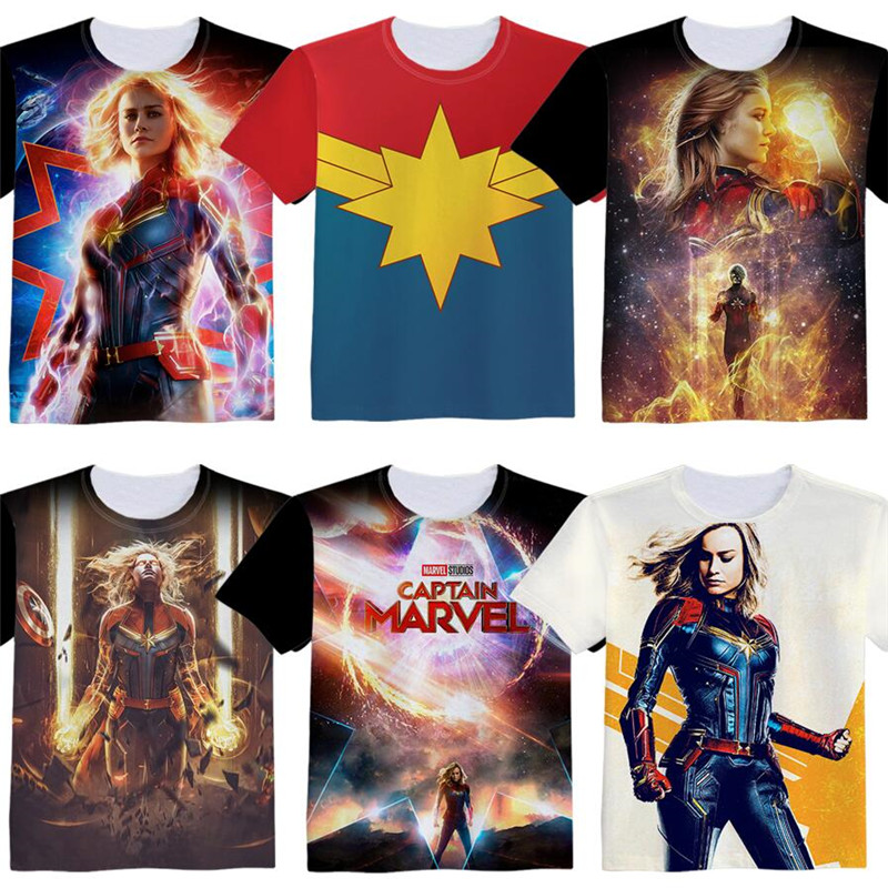 Hot New Movie The Avengers Captain Marvel Woman Man Lovely Printing Custom Made T-shirt Tees Christmas Gift Bare Fancy