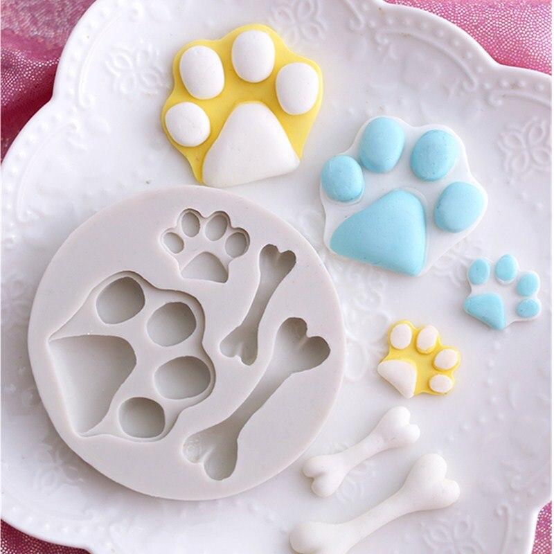 Aouke Bone Shape Silicone Mold Fondant Cake Decoration Chocolate Mold Kitchen Cooking Tool D098