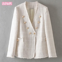 Fringe buttoned V neck weave tweed jacket women's temperament casual top Spring fragrance woman jacket