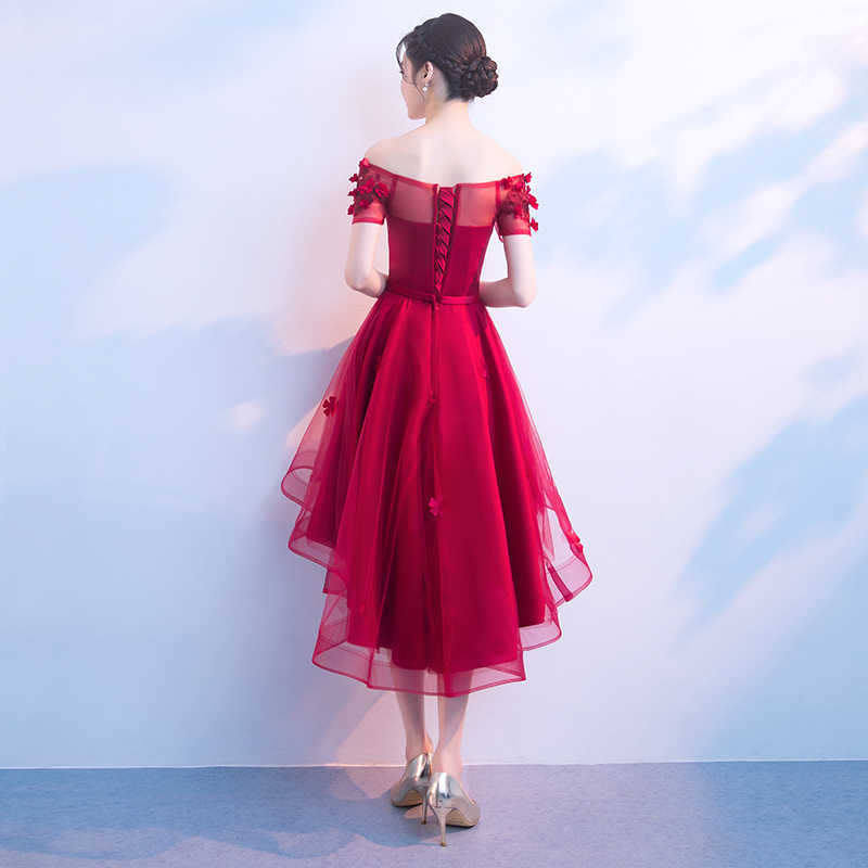 c2915b7c5067f Red High Low Prom Dresses Sexy Boat Neck Off The Shoulder Flower Tulle  Short Prom Dresses With Sleeves Plus Size